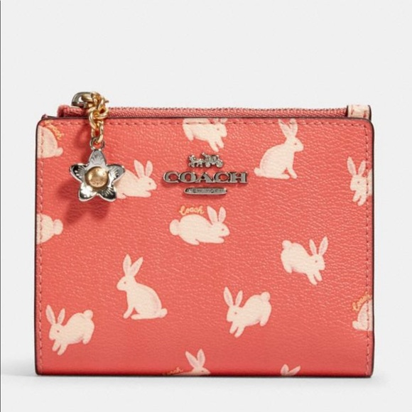 Coach Handbags - NWT Snap Card Case Wallet With Bunny Script Print